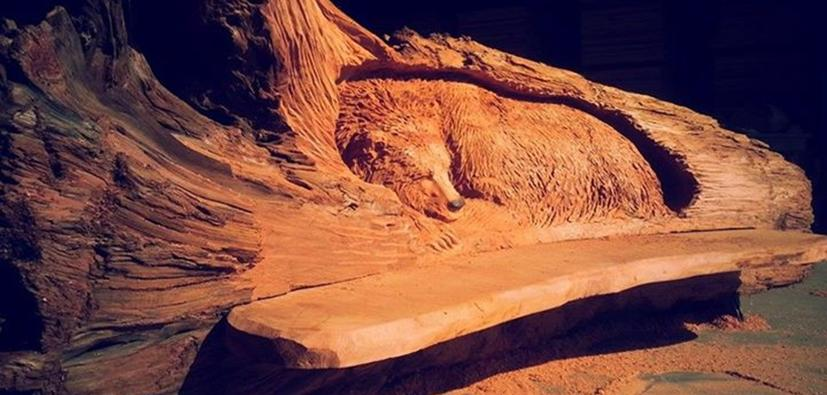 Wood carving bear bench, old growth redwood bench, custom wood bench, wood carvings for sale, wood carvers in Washington State