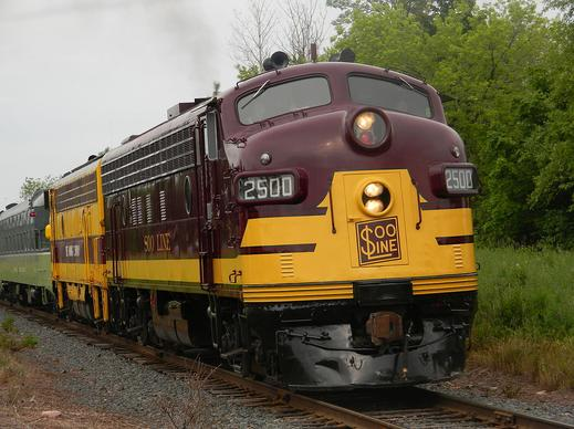 Soo Line 2500 leads a streamliner special in Duluth, July 12, 2014.