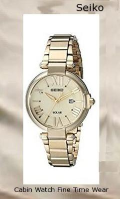Product specifications Watch Information Brand, Seller, or Collection Name Seiko Watches Model number SUT176 Part Number SUT176 Item Shape Round Dial window material type Hardlex Display Type Analog Clasp Fold-Over Clasp with Double Push-Button Safety Case material Stainless steel Case diameter 32.5 millimeters Case Thickness 8.4 millimeters Band Material Stainless steel Band length Women's Standard Band width 13.8 millimeters Band Color Gold Dial color champagne Bezel material Stainless steel Bezel function Stationary Calendar Date Special features Calendar Date, Solar Powered Movement Japanese quartz Water resistant depth 99 Feet,watch repair near me