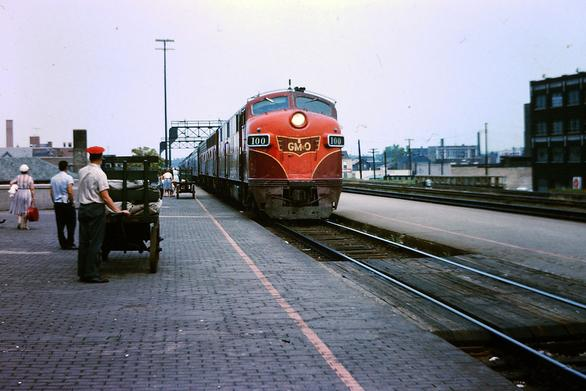 A Gulf, Mobile, & Ohio train at Joliet, Illinois. The train is led by EMD E7 No.100, August 1963.