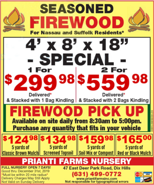 Firewood Seasoned Specials Delivery Long Island Suffolk Nassau Prianti Kindling Sale