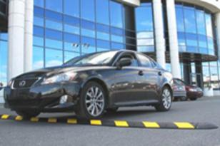 Safety-Striped Rubber Speed Bumps can be used for cement or asphalt surfaces