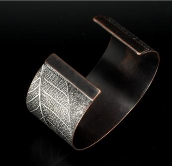 Carol Holaday - Leaf Print copper cuff - back view