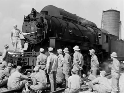 Soldiers in training on the U.S. Army Railroad.