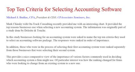 Top Ten Criteria for Selecting Accounting Software