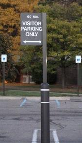 black bollard cover with message sign