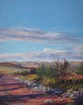 Miles and Miles of Texas pastel landscape painting by Lindy Cook Severns, Pinto Canyon ranchland near Marfa TX