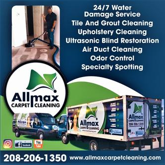 From restoration after disaster to deep cleaning projects, allmax Cleaning & Restoration can help recover and restore any property in Idaho Falls.Carpet Cleaning Upholstery & Rug Cleaning 24/7 EMERGENCY FLOOD SERVICE Odor Control & Specialty Spotting Air Duct Cleaning Trauma &Crimes Scene Clean Up ​Tile & Grout Cleaning Commercial & Residential ​Carpet Protector
