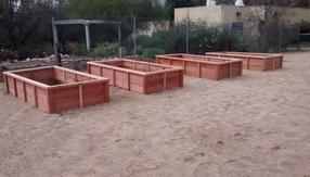 Redwood gardens, raised gardens, raised beds, planters beds,
