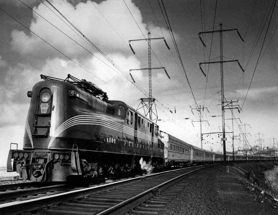 A GG1 electric locomotive pulls The Congressional out of the North River Tunnels, 1965.