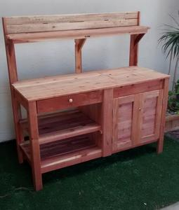Potting bench, Drawer, Half cabinet, Redwood