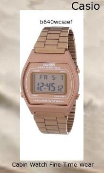 Watch Information Brand, Seller, or Collection Name Casio Model number B640WC-5AEF Part Number B640WC-5AEF Model Year 2012 Item Shape Square Dial window material type Glass Display Type Digital Clasp Buckle Case material Stainless steel Case diameter 35 millimeters Case Thickness 10 millimeters Band Material Stainless steel Band length 10 Band width 18 millimeters Band Color bronze Dial color bronze Bezel material Edelstahl Calendar Yes Special features Light, Timer, Stop watch Item weight 1.60 Ounces Movement Quartz Water resistant depth 50