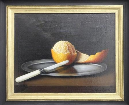 Painting of an orange by Maria Claudino