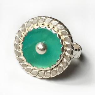 Carol Holaday - Aqua Pool ring - Peruvian blue opal