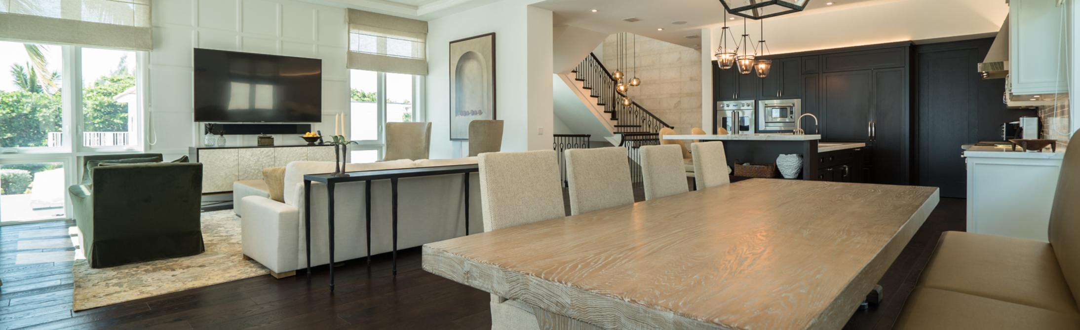 Kitchen and Dining Room by Custom Home Developers in South Florida