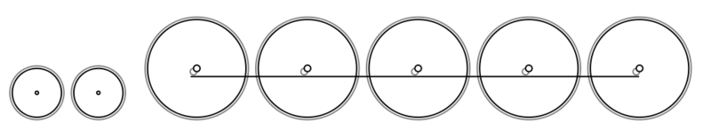 Diagram of the 4-10-0 wheel arrangement: four leading wheels, ten powered and coupled driving wheels, and no trailing wheels. Front of locomotive on left.