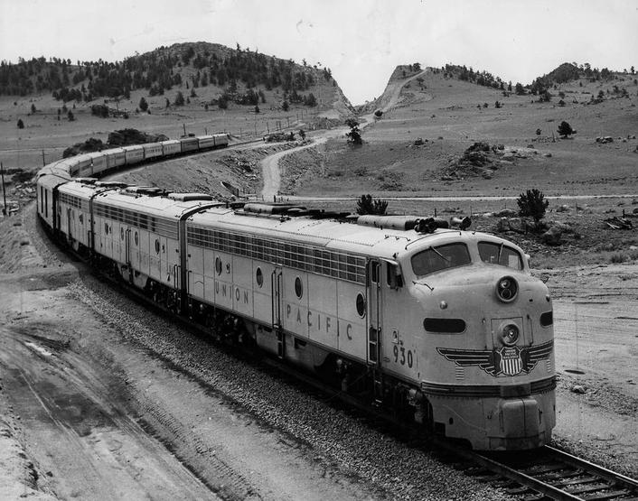The Union Pacific Challenger passenger train, circa 1953.