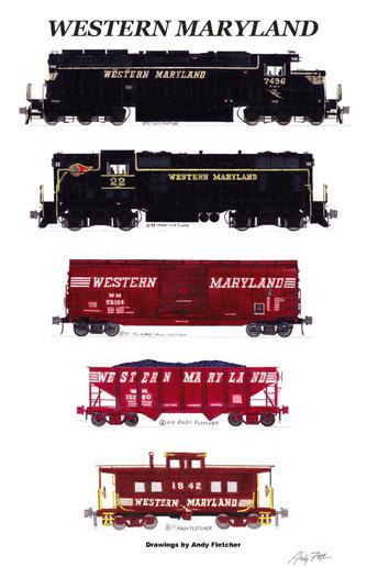 Western Maryland Locomotives 6 magnet set Andy Fletcher