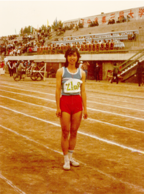 Photo of Jing Liu at University Track Competition