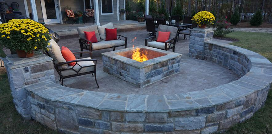 outdoor fire pit installations with pavers and sitting retaining wall in georgia