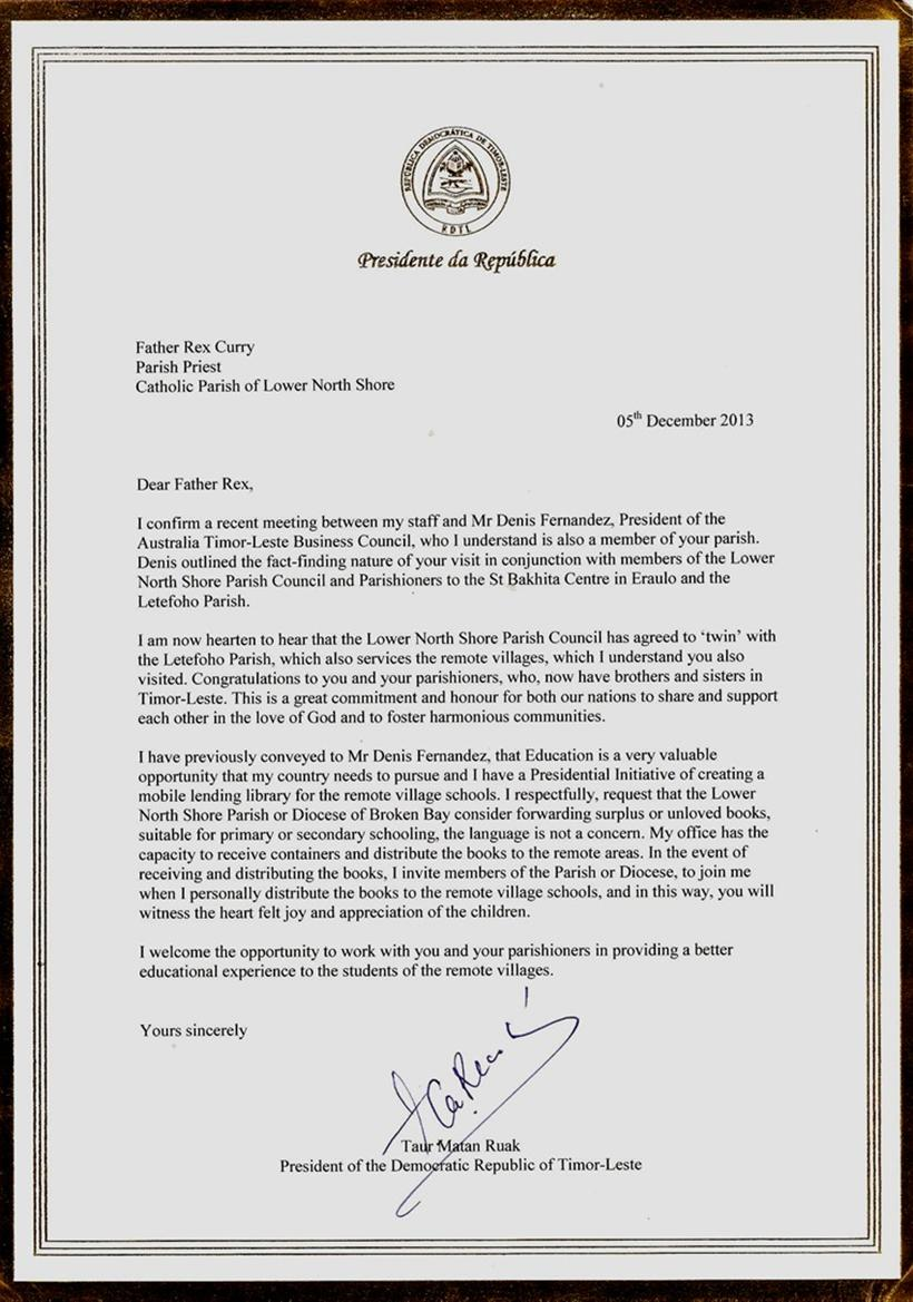 Letter from president of timor leste donations so far 008192 thecheapjerseys Image collections