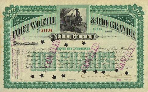 A Fort Worth and Rio Grande stock certificate.