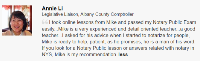 New York State Online Notary Class Testimonial