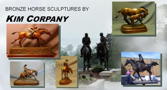 Bronze horse sculptures by Kim Corpany