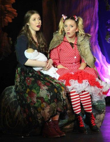 Cinderella (Mia Goddard) and Little Red Riding Hood (Ruby Davies)