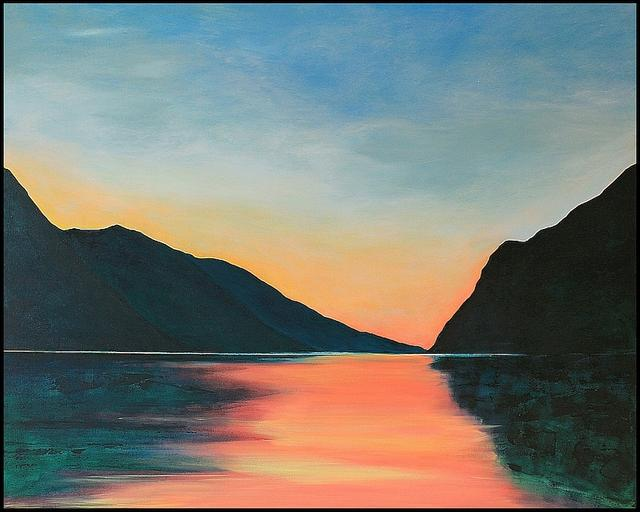 Lake Garda Gardasee Italy. Original Landscape Painting by Orfhlaith Egan. Berlin and Galway.