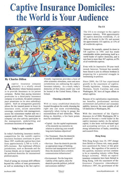 Article written by Maryland Tax Attorney Charles Dillon - Captive Insurance Domiciles: the World is Your Audience pg. 1