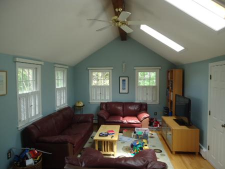Newly painted living room in Bridgewater, MA.
