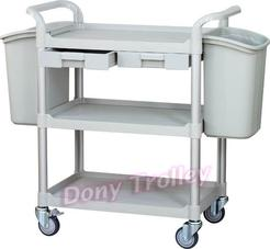 3 shelf food cart manufacturer with plastic drawer and waste bin