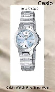 Watch Information Brand, Seller, or Collection Name Casio Model number LTP1177A-2A Part Number LTP-1177A-2A Item Shape Round Dial window material type Mineral Display Type Analog Clasp Fold-Over Clasp with Double Push-Button Safety Case material Stainless Steel, 37.5mm x 26.3mm Case diameter 25 millimeters Case Thickness 8 millimeters Band Material Stainless Steel Bracelet Band length Women's Standard Band width 13 millimeters Band Color Silver Dial color Blue Calendar No Special features measures-seconds Movement Quartz Water resistant depth 30 Meters