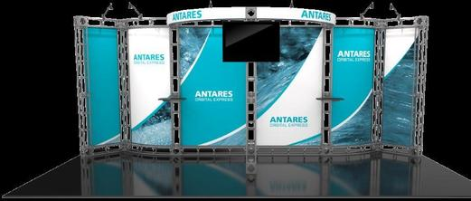 Antares 10x20 Orbital Truss trade show booth exhibit front side.