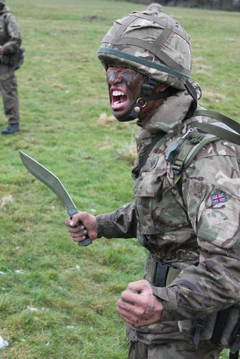 Gurkha learning how to use his kukri during recruit training