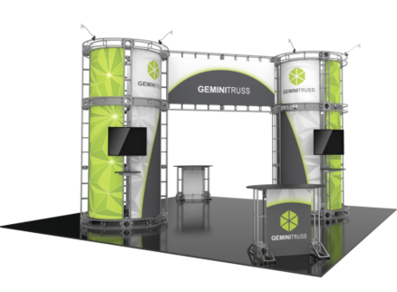 Gemini Orbital Express 20x20 modular trade show exhibit booth left side view.