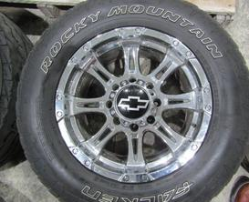 GM 8 LUG CHROME WHEELS WITH FALKEN TIRES
