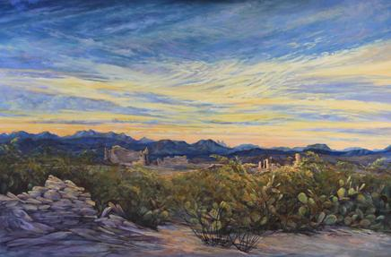 Sunrise Wakes the Ruins, a large oil landscape painting of Terlingua Ghost Town by Big Bend Artist Lindy C Severns