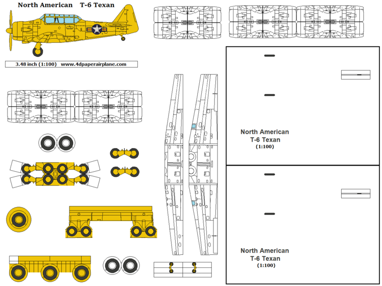 4D model template of North American T-6 Texan