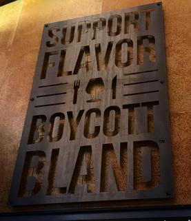 Image of Support Flavor Boycott Bland sign inside the Beer Hall