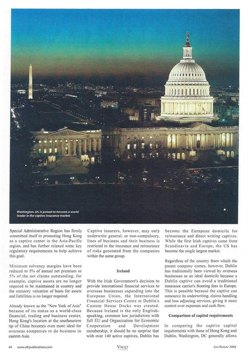 Article written by Maryland Tax Attorney Charles Dillon - Captive Insurance Domiciles: the World is Your Audience pg. 2