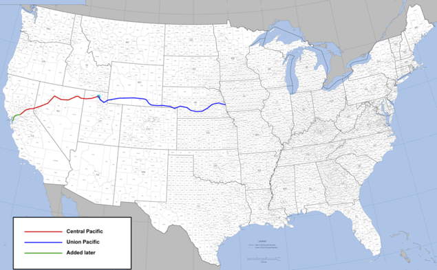 The First Transcontinental Route. Click to view larger image.