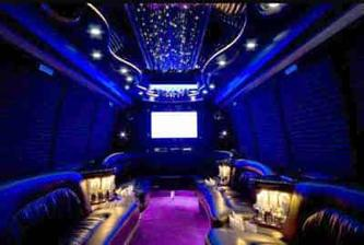 Inside Party bus Rental 22 passenger