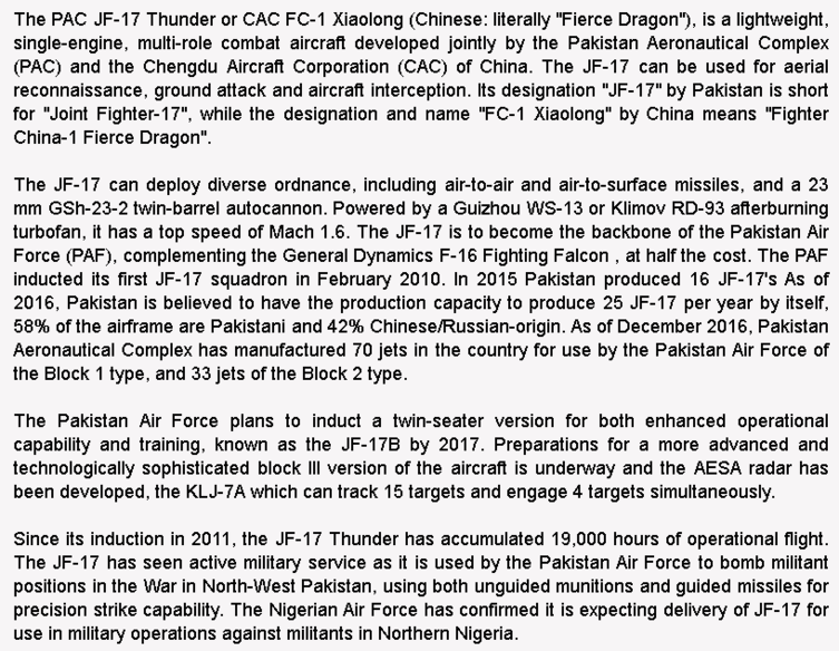 wiki background for 4D model of CAC/PAC JF-17 Thunder