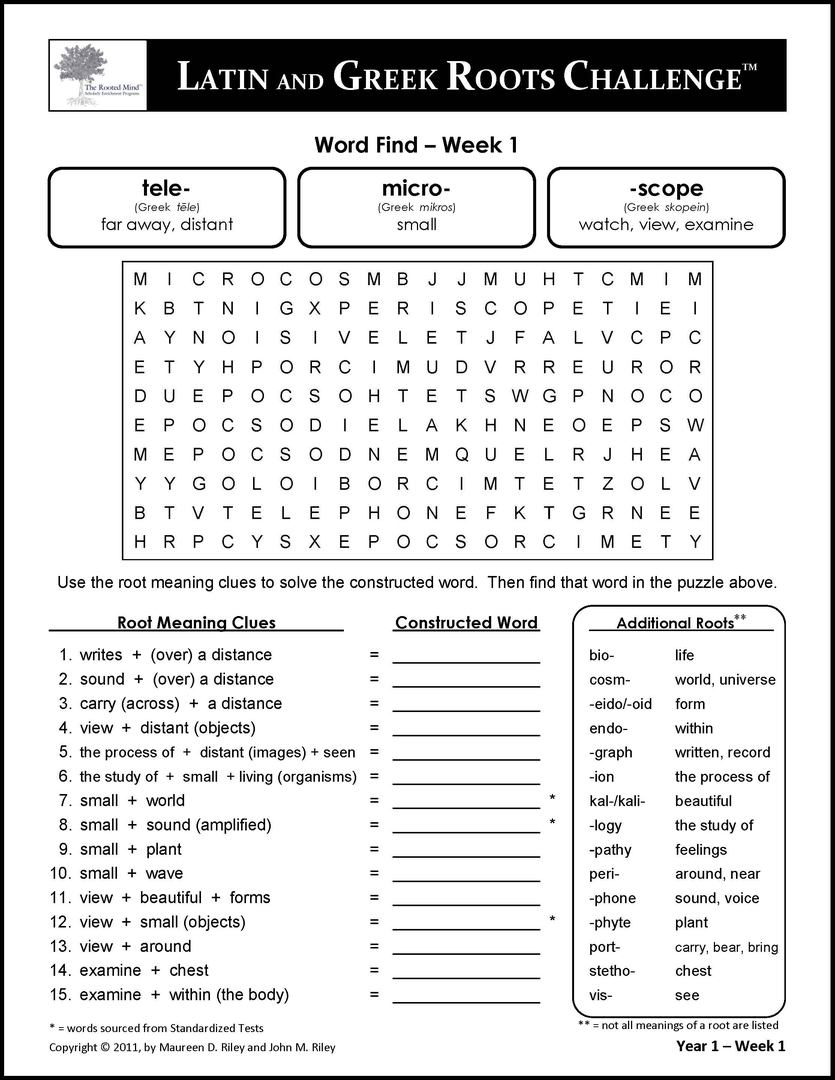 Latin and Greek Roots Challenge – Latin and Greek Roots Worksheets