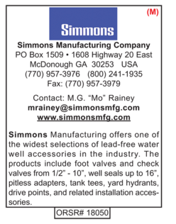 Simmons, Water Well Accessories