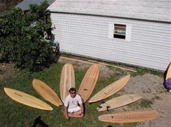 balsa surfboards displayed
