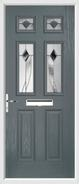 2 Panel 4 Square Door monza glass