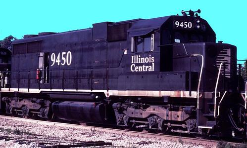 Illinois Central Railroad No. 9450, an EMD SD28.
